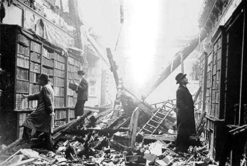 London library damaged during the blitz