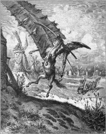 Don Quixote Battling Windmills
